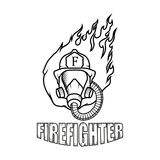 Firefighter logo. Fire Department. Human with firefighter helmet Royalty Free Stock Photography