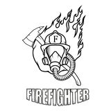 Firefighter logo. Fire Department. Human with firefighter helmet Royalty Free Stock Photo