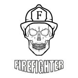 Firefighter logo. Fire Department. Human skull with firefighter helmet Royalty Free Stock Photo