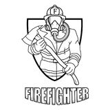 Firefighter logo. Fire Department. Human with firefighter helmet Stock Image