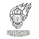 Firefighter logo. Fire Department. Skull with firefighter helmet Royalty Free Stock Image