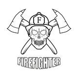 Firefighter logo. Fire Department. Skull with firefighter helmet Royalty Free Stock Photo