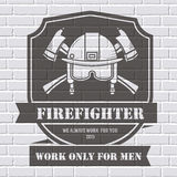 Firefighter logo or label template background on. White brick wall. Vector illustration isolated icons for your product or design, web and mobile Stock Image