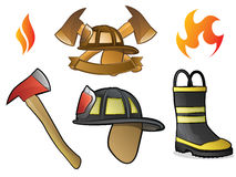 Firefighter Logos. Collection of Firefighter/Fireman Symbols, Icons, and Objects Royalty Free Stock Image