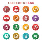Firefighter long shadow icons. Flat vector symbols Royalty Free Stock Image