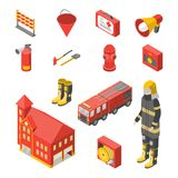 Firefighter Man and Equipment Icons Set Isometric View. Vector. Firefighter Man and Equipment Icons Set Isometric View Include of Hose, Extinguisher, Hydrant Royalty Free Stock Photography