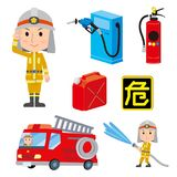Firefighter man With fire engine Stock Photography
