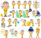 Firefighter man money. Set of various poses of Firefighter man money Stock Photos