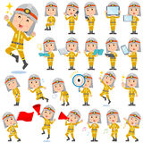 Firefighter man 2. Set of various poses of Firefighter man 2 Royalty Free Stock Image