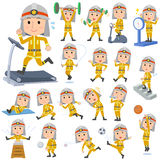 Firefighter man Sports & exercise. Set of various poses of Firefighter man Sports & exercise Stock Images