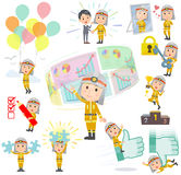 Firefighter man success & positive. Set of various poses of Firefighter man success & positive Royalty Free Stock Images