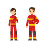Firefighter man and woman. Two young firefighters, male and female, in uniforms holding helmets. Cute flat cartoon style. Isolated on white background Royalty Free Stock Photo