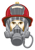 Firefighter with Mask. Illustration of the head of a firefighter with a helmet and mask on Stock Image