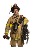 Firefighter with mask and airpack fully protective Royalty Free Stock Photo