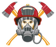 Firefighter with Mask and Axes. Illustration of the head of a firefighter with a helmet and mask on and axes behind him Stock Photos