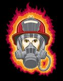 Firefighter with Mask and Flames Stock Photos