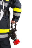 Firefighter with mask and protective suit Stock Images