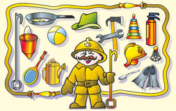 Firefighter. With a mustache man fireman recalls what subjects on wall of his(its) professions Stock Image