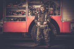 Firefighter near truck Stock Photos