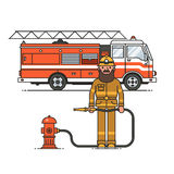 Firefighter officer in personal protecting equipment standing in front of fire engine truck. Brave hero. Vector rescue worker male character. Firefighting Stock Photography