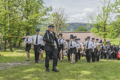 Firefighter orchestra. Volunteer fire brigade orchestra in voillage Roznow in Poland . Europe Royalty Free Stock Photo
