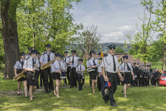 Firefighter orchestra. Volunteer fire brigade orchestra in voillage Roznow in Poland . Europe Royalty Free Stock Image