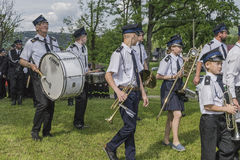 Firefighter orchestra. Volunteer fire brigade orchestra in voillage Roznow in Poland . Europe Royalty Free Stock Photos