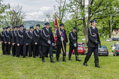 Firefighter orchestra. Volunteer fire brigade orchestra in voillage Roznow in Poland . Europe Stock Photo