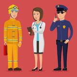 Firefighter, paramedic and policeman. Specialists of the emergency service. Public safety worker characters. Vector illustration in a flat style. Group of Royalty Free Stock Image