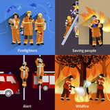 Firefighter People 2x2 Design Compositions. Of firefighters crew alerting wildfire and saving people flat vector illustration Stock Photography