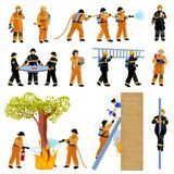 Firefighter People Flat Color Icons Set. Decorative flat color icons set of firefighter people extinguishing fire with firehose and saving children vector Royalty Free Stock Photo