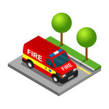 Firefighter pickup van isometric 3d car truck transport. Set Royalty Free Stock Image