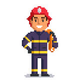 Firefighter pixel art Royalty Free Stock Photo