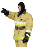 Firefighter points finger direction Royalty Free Stock Photo