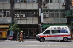 The firefighter and police in action. Picture was taken in August 2017. Location: Taipei, Taiwan royalty free stock photo