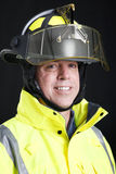 Firefighter Portrait on Black Stock Photo