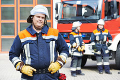 Firefighter portrait on duty Stock Image