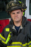 Firefighter Portrait In Front of Fire Truck Royalty Free Stock Photos