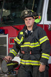 Firefighter Portrait In Front of Fire Truck Royalty Free Stock Images