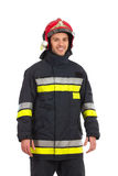 Firefighter posing, Front view. Smiling firefighter posing, Front view. Three quarter length studio shot isolated on white Stock Images