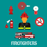 Firefighter profession color flat icons. Firefighter profession concept with fireman in red helmet and fully protective suit, surrounded by fire truck, hose Royalty Free Stock Photo