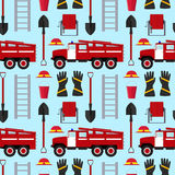 Firefighter Profession Equipment and Tools Background Pattern. Vector Royalty Free Stock Images