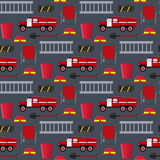 Firefighter Profession Equipment and Tools Background Pattern. Vector. Firefighter Profession Equipment and Tools Background Pattern on Gray. Flat Design Style Stock Photography