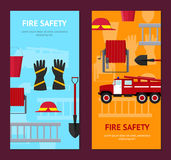 Firefighter Profession Equipment and Tools Banner Vecrtical Set. Vector. Firefighter Profession Equipment and Tools Banner Vecrtical Set. Flat Design Style Stock Photo