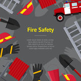 Firefighter Profession Equipment and Tools Concept Banner Card. Vector. Firefighter Profession Equipment and Tools Concept Banner Card. Flat Design Style. Vector Stock Images