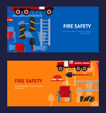 Firefighter Profession Equipment and Tools Horizontal Set. Vector Royalty Free Stock Image