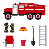 Firefighter Profession Equipment and Tools. Vector. Firefighter Profession Equipment and Tools. Flat Design Style. Vector illustration Stock Photography