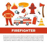 Firefighter profession and fire secure protection vector psoter flat design template. Fireman profession and fire secure protection poster of fire extinguishing Stock Photos