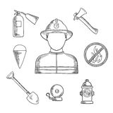 Firefighter profession hand drawn sketch icons. Firefighter profession sketch icons with man in protective helmet and suit, flanked by fire axe, bucket and Royalty Free Stock Image