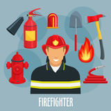 Firefighter profession icon of fireman in uniform. Fireman or firefighter profession icon. Fireman in firefighter uniform with red helmet, fire hose, flame Royalty Free Stock Image
